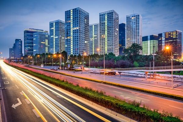 Beijing, China CBD Skyline and expressway.